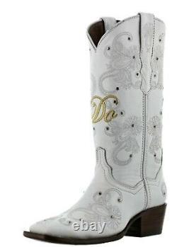 Cowboy Boots Women Wedding I Do Rhinestones Floral Paisley Gold White Square Toe
