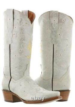 Cowboy Boots Women Wedding I Do Rhinestones Floral Paisley Off White Snip Toe
