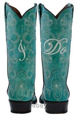 Cowboy Boots Women Wedding I Do Rhinestones Floral Paisley Turquoise Snip Toe