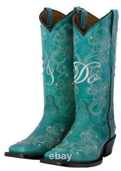 Cowboy Boots Women Wedding I Do Rhinestones Floral Paisley Turquoise Square Toe