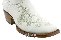 Cowboy Boots Women Wedding I Do Rhinestones Floral Paisley White Square Toe