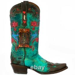 Cowboy Boots for Women size 8.5 BM, Turquoise, Snip Toe, Robin Birds, Floral