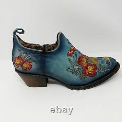 Cuadra Floral Embroidered Leather Women Ankle Boot Bohemian Western Sz 9
