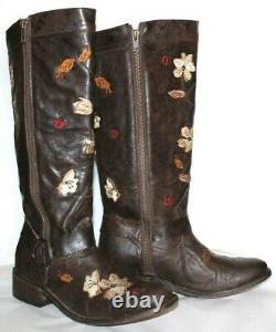 DAN POST Ladybug Floral Embroidered Leather Harness Boots 9 EXCELLENT! L@@K! Q