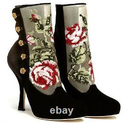 DOLCE & GABBANA Black Suede Baroque Floral Tapestries Antique Gold Roses Boots