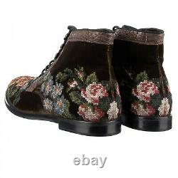 DOLCE & GABBANA Embroidered Velvet Crocodile Boots SIRACUSA Brown 44 US 11 09063