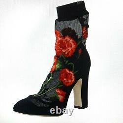 DOLCE & GABBANA Floral Embroidered Boots NEW $1500 Size 8 or 8.5US IT39