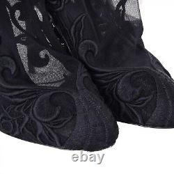DOLCE & GABBANA Floral Embroidered Nylon Socks Pumps Boots Black 40 US 10 06276