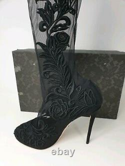 DOLCE & GABBANA Floral Embroidered Over The Knee Socks Boots Black £1300