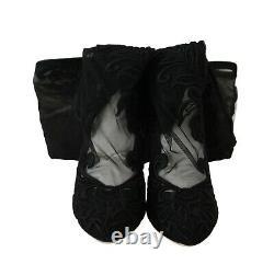 DOLCE & GABBANA Shoes Black Floral Lace Booties Heels s. EU36 / US5.5 RRP $1700
