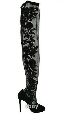 DOLCE & GABBANA Shoes Black Floral Lace Booties Heels s. EU39 / US8.5 RRP $1700