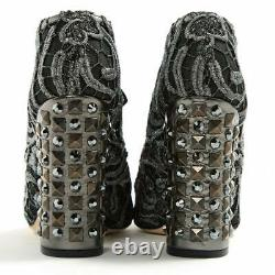 DOLCE & GABBANA Studded Black and Silver Lace Boots Heels