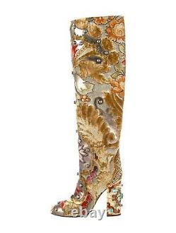 DOLCE & GABBANA runway Floral Embroidered high Boots IT 37