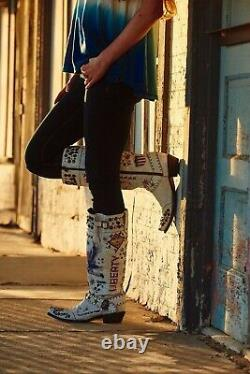 Ddl020-1 Double D Ranch Liberty & Justice Tall Distressed Crackolada White Boots