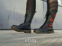 Doc Dr Martens Ladies Vonda Rose Floral Calf Length Leather Boots Size 8