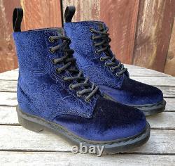 Dr Martens 1460 Brocade Velvet Velour Royal Blue Combat Boots Women's Size 7