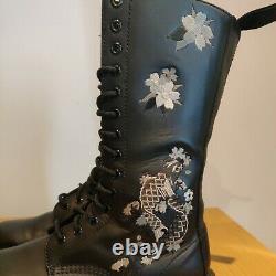 Dr Martens 1914 Vonda Anissa Floral Japan Tattoo Art Fish Koi Boots Size UK 7