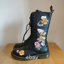 Dr Martens 1914 Vonda II Roses Floral Black Leather Mid Calf UK 6 EU 39 US 8