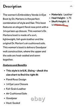 Dr. Martens 1914 Vonda Women's Casual Leather Boot Black, Size 6 US (12761001)