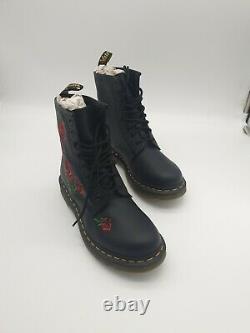 Dr. Martens Black 1460 Vonda Red Rose Boots Women's size 9 Leather