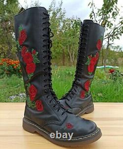 Dr Martens Rhonda Boots Women 8 UK 10 US Knee High Vonda 20 eye Rose applique