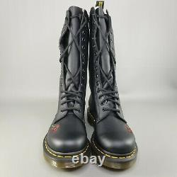 Dr Martens Vonda 14-Eye Combat Boots Womens Size 6 Black Roses 12761001