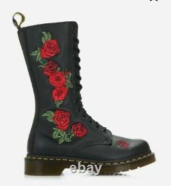 Dr Martens Vonda Rose 14 Eyelet Black leather mid calf Boots size Uk 5 EU 38