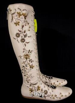 ETRO 37.5 7.5 Runway Hand Floral Embroidered Knee-high Leather Boots $2450