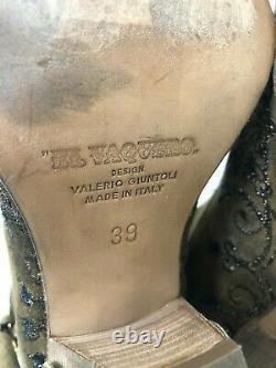 El Vaquero Women's 39 Valerio Giuntoli Italy Brown Leather Crystal Studs Boots 8