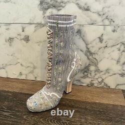 FENDI Rockoko Runway Gray Knit Floral Embroidered Sock Ankle Boots (Size9)