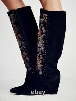 Free People Penny Lane Embroidered Tall Boots-38