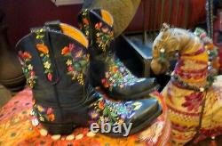 Gorgeous Old Gringo Black Embroidered Short Boots, 7.5