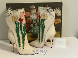 Gucci Fosca Floral Embroidered Leather Boots, Size 36