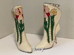 Gucci Fosca Floral Embroidered Leather Boots, Size 36.5