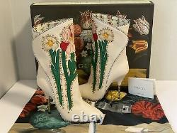 Gucci Fosca Floral Embroidered Leather Boots, Size 37