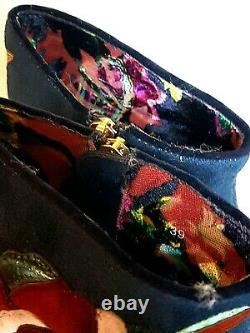 Irregular Choice THEODORE Navy Heeled Embroidered Ankle Boots 39 UK 6 rrp £175