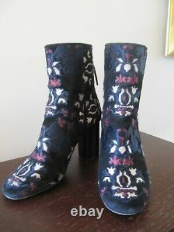 Isabel Marant Black Suede Embroidered Guya Booties, Size 7