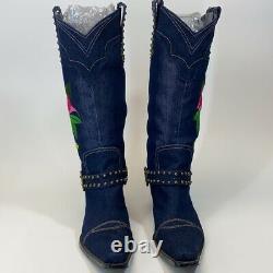 J Renee floral embroidered denim cowboy Dakota western boots womens size 8