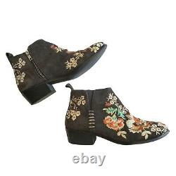 JOHNNY WAS Sammi suede leather embroidered ankle boots booties charcoal 37 6.5 7