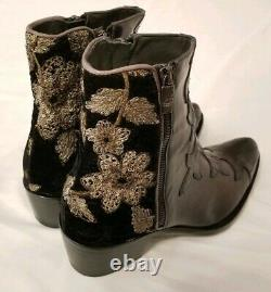 Jo Ghost Floral Embroidered Black Leather Ankle Boots Womens 40 New Free People
