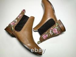 Joules Westbourne Embroidered Chelsea Boot Woodland Tan Floral Size 4 RRP £150