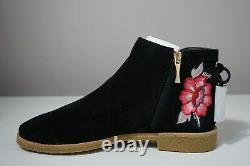 Kate Spade New York Bellville Floral Embroidered Suede Black Booties Size 11