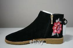Kate Spade New York Bellville Floral Embroidered Suede Black Booties Size 9