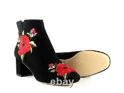 Kate Spade New York Langton Black Suede Floral Embroidered Ankle Bootie Size 6