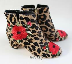 Kate Spade New York Langton Leopard Print Embroidered Floral Real Fur Boots Sz 7