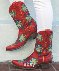 L 098-10 Old Gringo Lilium Vintage Red & Aqua Floral 10 Leather Boots