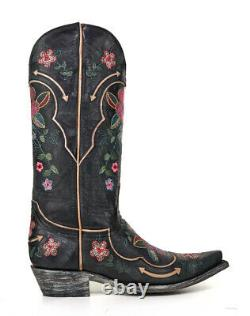 L 696-15 Old Gringo Bonnie Pipin Vesuvio Black Pink Blue Floral 13 Leather Boot