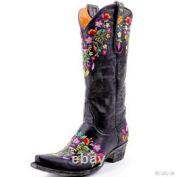 L 841-2 Old Gringo Sora Vesuvio Black Floral 13 Leather Boots