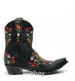 L 841-2 Old Gringo Sora Vesuvio Black Floral 8 Leather Boots