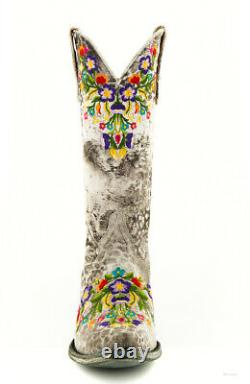 L 841-42 Old Gringo Sora Gray Leopardito Multi Embroidered 13 Leather Boots